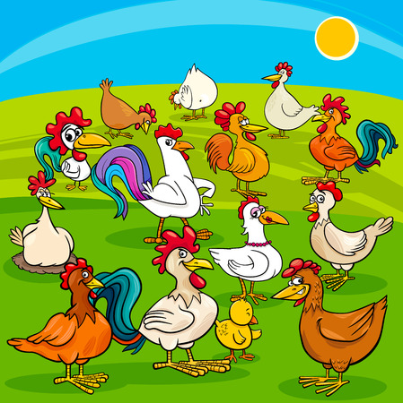 chick: Cartoon Illustration of Chickens Birds Farm Animal Characters Group