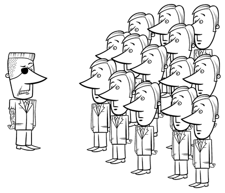 Black and White Concept Cartoon Illustration of Young Corporate Employees and a Senior Manager