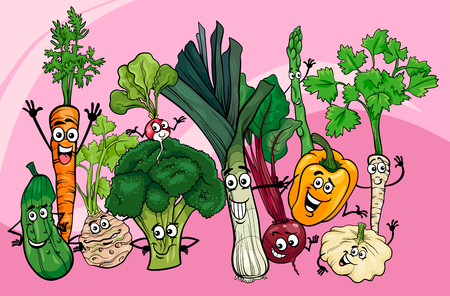 Cartoon Illustration of Funny Vegetables Food Characters Group