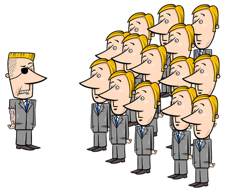 Concept Cartoon Illustration of Young Corporate Employees and a Senior Manager Ilustracja