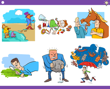 Illustration Set of Humorous Cartoon Concepts or Ideas and Metaphors with Comic Characters