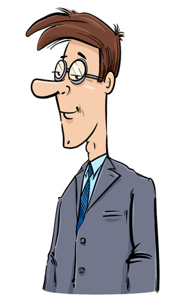 Drawing Illustration of Young Businessman Character Caricature