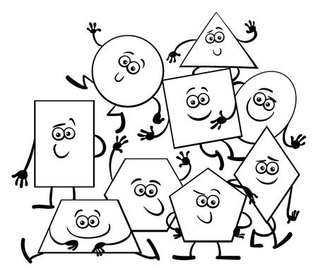 Ilustración De Dibujos Animados Blanco Y Negro De Formas Geométricas ...