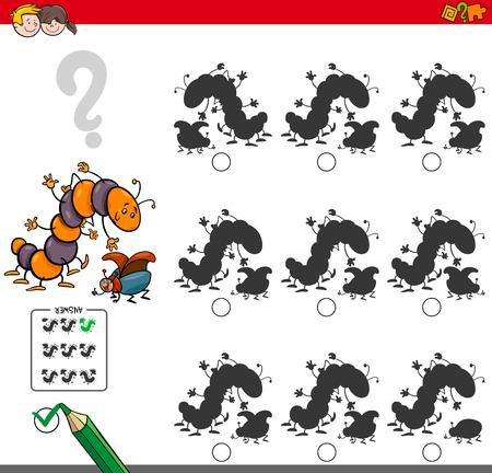차이없는 그림자를 찾는 만화 그림 두 개의 곤충 캐릭터가있는 어린이를위한 교육 활동 스톡 콘텐츠 - 86725848