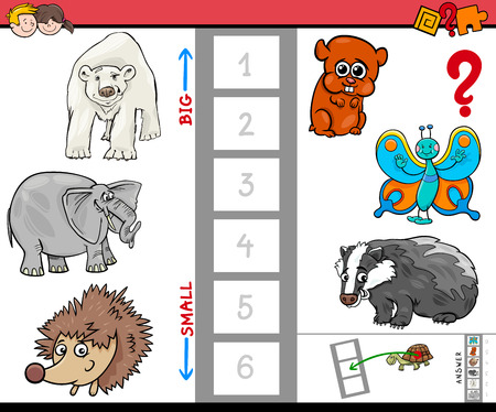 Cartoon Illustration of Educational Activity Game of Finding the Biggest and the Smallest Animal Species Characters