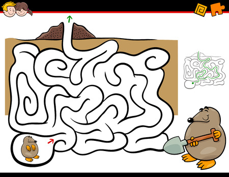Cartoon Illustration of Education Maze or Labyrinth Activity Game for Children with Mole Animal Character.