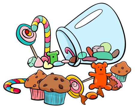 お菓子やケーキのような甘い食べ物のイラストの漫画します。  イラスト・ベクター素材