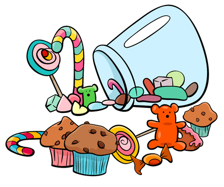 Cartoon Illustration of Sweet Food like Candy or Cakes.
