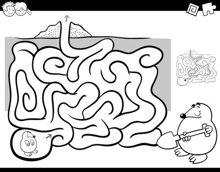 黒と白の漫画ほくろ動物キャラクターぬりえと子供の教育迷路や迷宮活動ゲームの例。 写真素材 - 86744681