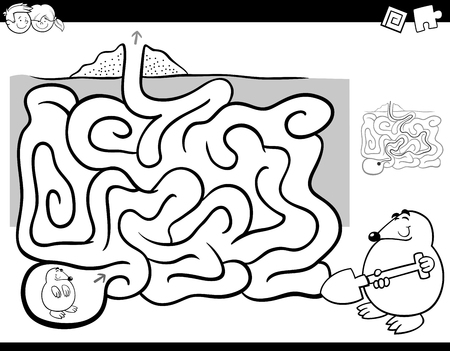 Black And White Cartoon Illustration Of Education Maze Or Labyrinth Activity Game For Children With Mole