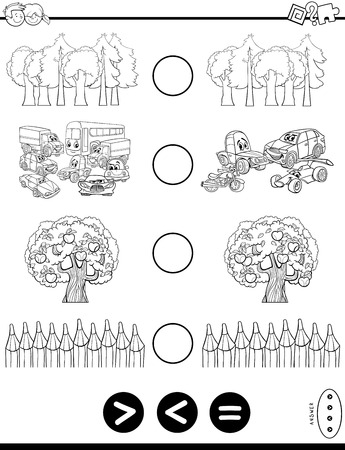 Black and White Cartoon Illustration of Educational Mathematical Activity Game of Greater Than, Less Than or Equal to for Kids Coloring Book