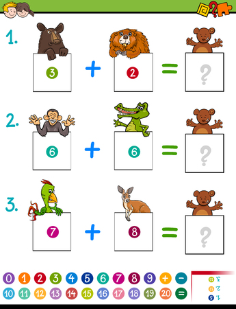 Cartoon Illustration of Educational Mathematical Addition Activity Game for Children with Wild Animal Characters