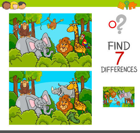 Cartoon Illustration of Find the Differences Between Pictures Educational Activity Game for Children with Wild Animal Characters Group