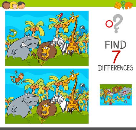 Ilustración de dibujos animados de encontrar las diferencias entre imágenes Juego de actividades educativas para niños con Safari Animal Characters Group Ilustración de vector