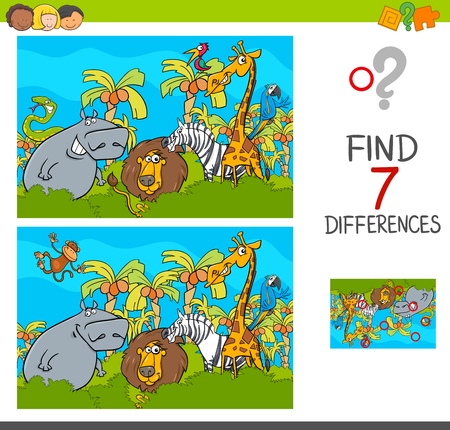 Cartoon Illustration of Find the Differences Between Pictures Educational Activity Game for Children with Safari Animal Characters Group
