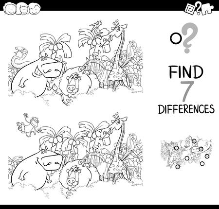 흑백 만화 그림 사이의 차이점 찾기 사파리를 가진 어린이를위한 교육 활동 게임 동물 캐릭터 그룹 색칠하기 책