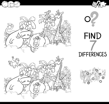 Black and White Cartoon Illustration of Find the Differences Between Pictures Educational Activity Game for Children with Safari Animal Characters Group Coloring Book