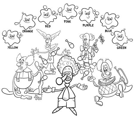 Ilustración De Dibujos Animados En Blanco Y Negro De Los Colores ...