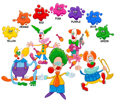 comedian: Cartoon Illustration of Basic Colors Educational Page for Children with Clowns Circus Characters