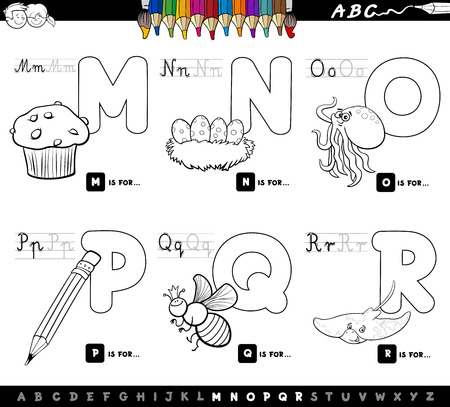 Black And White Cartoon Illustration Of Capital Letters Alphabet Royalty Free Cliparts Vectors Stock Image 87285297