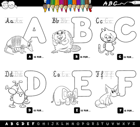 Black and White Cartoon Illustration of Capital Letters Alphabet Set with Animal Characters for Reading and Writing Education for Children from A to F Coloring Book