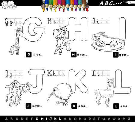 Black and White Cartoon Illustration of Capital Letters Alphabet Set with Animal Characters for Reading and Writing Education for Children from G to L Coloring Book Çizim