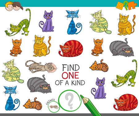 Cartoon Illustration of Find One of a Kind Educational Activity Game for Children with Funny Cat Characters 矢量图像