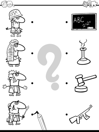 Black and White Cartoon Illustration of Educational Pictures Matching Game for Children with People Characters and their Professions Coloring Book