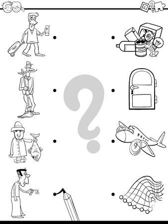 Black and White Cartoon Illustration of Educational Pictures Matching Game for Children with People Characters and Objects Coloring Book