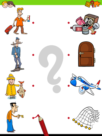 Cartoon Illustration of Educational Pictures Matching Game for Children with People Characters and Objects Illustration