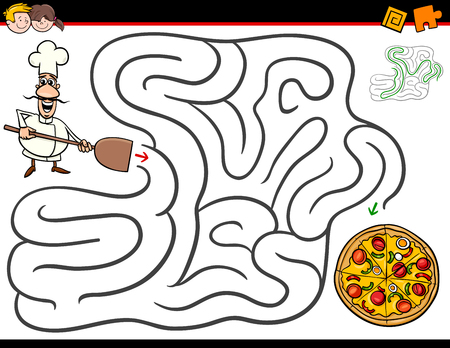Cartoon illustration of education maze activity game for children with chef character and pizza.