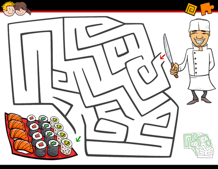 Cartoon Illustration of Education Maze or Labyrinth Activity Game for Children with Chef Character and Sushi Illustration