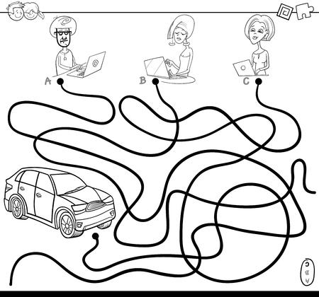 Ilustración De Dibujos Animados Blanco Y Negro De Rutas O Juego De ...