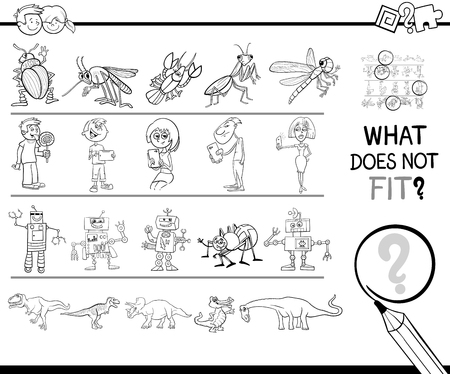 Black and White Cartoon Illustration of Finding Picture. Illustration