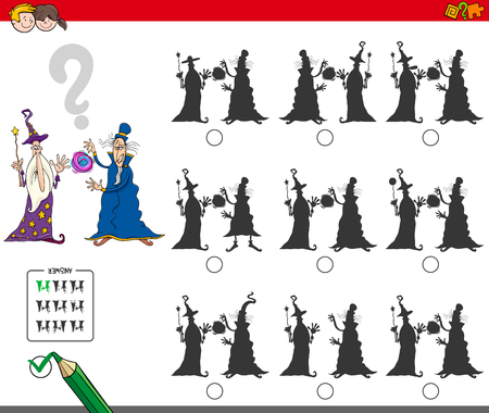 Cartoon Illustration of Finding the Shadow without Differences Educational Activity for Children with Two Wizards Fantasy Characters 일러스트