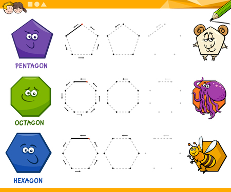 Educational Cartoon Illustration of Octagon Basic Geometric Shape for Children Ilustrace