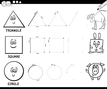 Black and White Educational Cartoon Illustration of Hexagon Basic Geometric Shape for Children Coloring Page