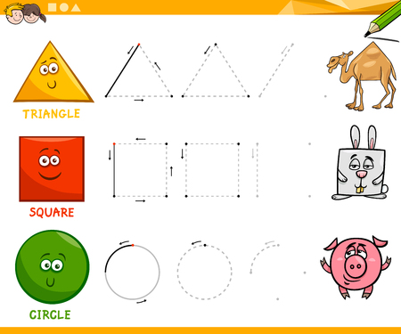 Educational Cartoon Illustration of Basic Geometric Shapes Drawing for Children
