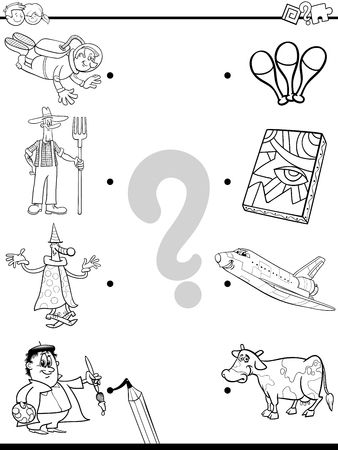 Black and White Cartoon Illustration of Educational Pictures Matching Game for Children with Professional People Characters and Objects Coloring Book