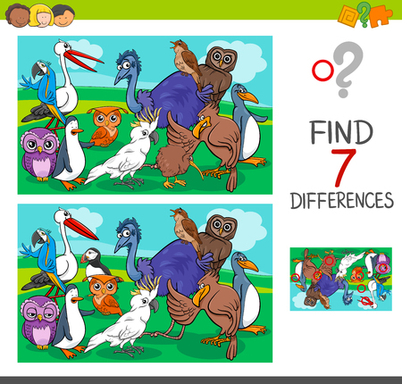 Cartoon illustration of finding differences between pictures educational activity game for children with birds animal characters group.