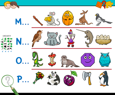 Cartoon illustration of finding pictures starting with referred letter educational game for kids.