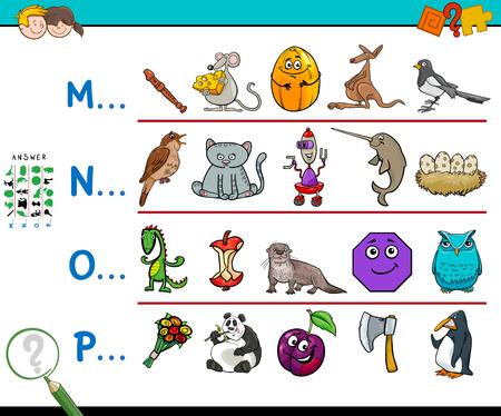 Illustrazione del fumetto di trovare le immagini che iniziano con il gioco educativo riferito di lettera per i bambini.