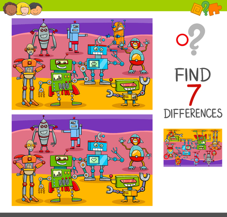 Cartoon Illustration of Finding Differences Between Pictures.