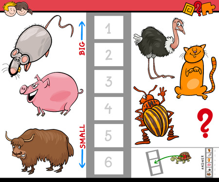 Cartoon illustration of game of finding the biggest and the little animal characters for kids. 向量圖像
