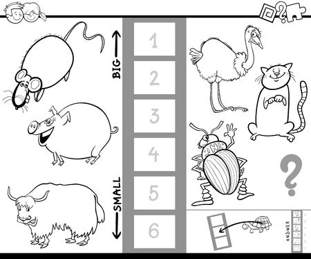 Black and White cartoon illustration of Games of finding the biggest and the little Animal characters for kids coloring book. 向量圖像