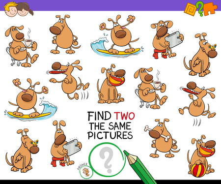 Cartoon Illustration of Finding Two Identical Pictures Educational Activity Game for Children with Funny Dog Characters