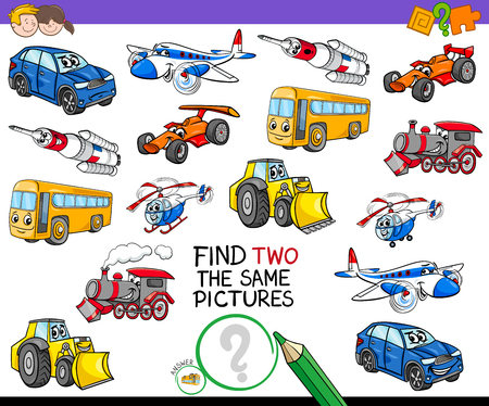 Cartoon Illustration of Finding Two Identical Pictures Educational Game for Children with Transport Vehicle Characters