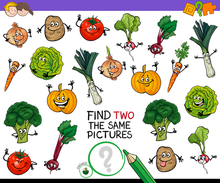 Cartoon Illustration of Finding Two Identical Pictures Educational Game for Children with Vegetable Characters