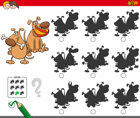 Cartoon Illustration of Finding the Shadow without Differences Educational Activity for Children with Dogs Animal Characters Illustration