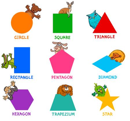 Shape recognition learning activity for kids. Illustration